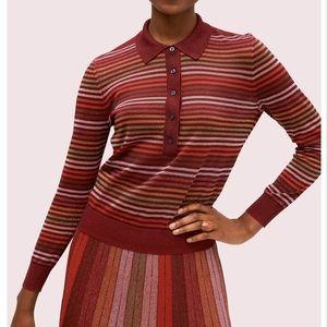 Metallic striped polo sweater Kate Spade